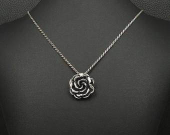 Victorian Rose Pendant & Chain 925 Sterling Silver Greek Handmade Art Luxury
