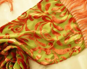 Burnout Velvet Scarf Silk Scarf With Fringe