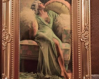 Jean Harlow colour print in a gold frame 6x4""