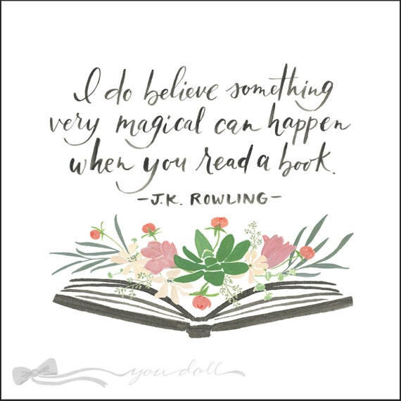 Flower Book Print with J.K. Rowling quote