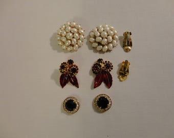 6 Piece Vintage Jewelry Lot For Crafts Repair Repurpose Harvest Rhinestones Pearls