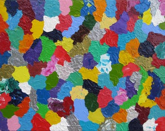 """Original Modern Abstract Texture Palette Knife Acrylic Painting """"CELEBRATION""""."""
