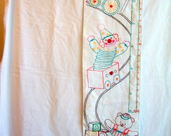 Vintage hand-embroidered nursery wall-hanging, growth chart