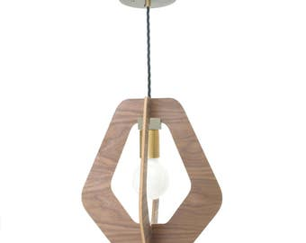 Walnut hanging pendant light chandelier