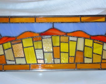 Handmade Large Stained Glass Panel SUN!!!  SUNSHINE!!!! and Vitamin D!!!