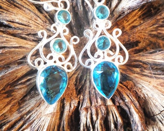 Topaz and Sterling Silver Earrings
