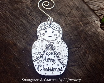 Hand Stamped 'Matryoshka Doll' Christmas Decoration, Christmas Ornament, Unique, Russian Dolls, Babushka Doll, Stamped Metal, Nesting Dolls.