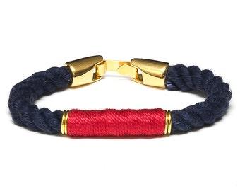 Nautical Rope Bracelet / Navy Blue Rope Bracelet / Gold Nautical Rope Bracelet / Nautical Jewelry / Red Nautical Bracelet / Summer Jewelry