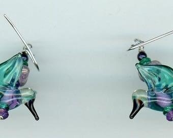 Hummingbird Earrings, Hummingbird Jewelry, Glass Earrings, Glass Hummingbirds, Gift for Her, Artisan Jewelry, Artisan Earrings, Hummingbird