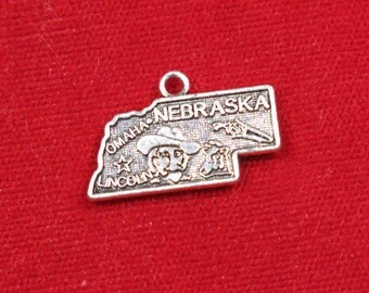"BULK! 30pc ""Nebraska"" charms in antique silver style (BC1230B)"