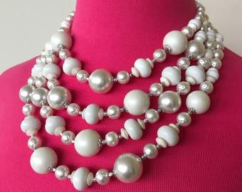 SALE 1960s Marvela White Beaded multistrand necklace