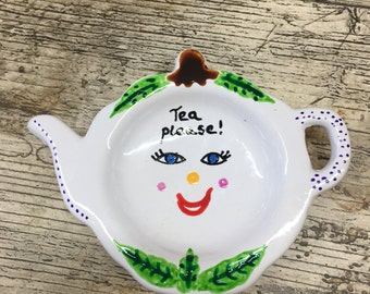 Cute teabag holder hand painted