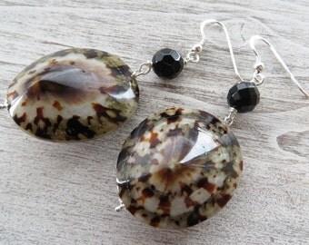 Shell earrings, sterling silver 925 earrings, dangle earrings, multicolor earrings, black onyx earrings, gemstone jewelry, summer jewelry