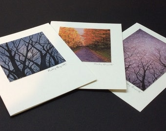 Fine art greeting card, blank with matching envelope - Set of 3