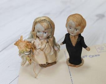 Antique Small Kewpie Doll Bride & Groom Set, Vintage Bisque Wedding Figures Cake Topper, Wedding or Anniversary Decor
