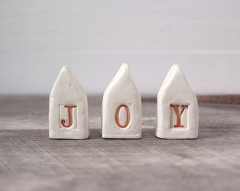 Joy.  Small Ceramic Houses.  Recycled Clay. Rustic Design.  In Sunny Orange.