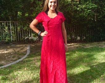 XXL, Long red Asian dress, front button