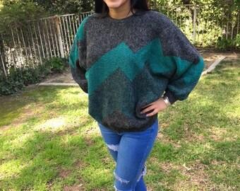 Green sweater,1980's ,Geometric, Bat Wing ,Sweater, Green , Gray , Large