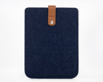 Kindle Paperwhite Case - Kindle Felt and Leather Case - Kindle Sleeve - Blue Felt Kindle Sleeve - eBook Reader Case