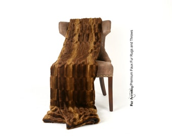 Luxurious Faux Fur Throw Blanket  - Dark Brown Short Beaver - Sheared Lambskin - Silky Soft Minky Cuddle Fur Back - Fur Accents Designs USA