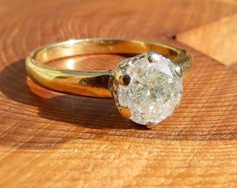 RESERVED (SOLD) to THT'S first patron Brenda, A big 1.3 Carat diamond solitaire 14k yellow gold ring.