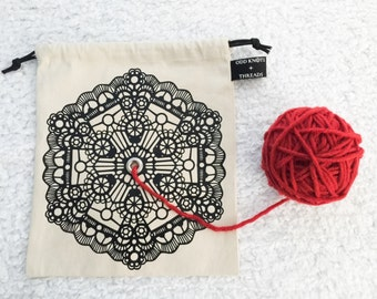 Canvas Yarn Bowl Drawstring WIP Project Bag // GEOMETRIC LACE