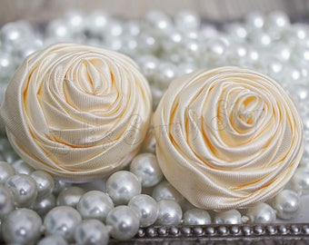 """2"""" Large Satin Ribbon Roses - Set of Two - Rolled Rosettes - Cream Satin Rolled Rosettes - Large Satin Roses - Ivory Satin Flowers"""