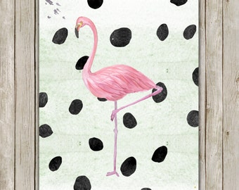 8x10 Watercolor Flamingo Printable Art, Flamingo Poster, Animal Print, Polka Dot Art, Flamingo Wall Art, Instant Download