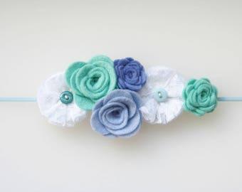 Lace & Felt Flower Skinny Elastic Headband