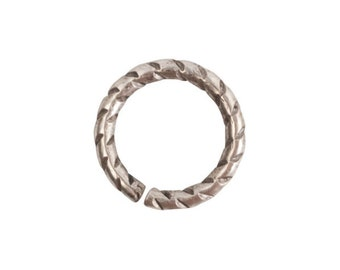 Jump Ring - 9mm Textured - Antique Silver (plated) - ONE