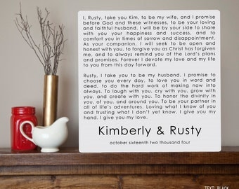 Modern Wedding Vows Personalized Metal Sign Wall Art Print - Wedding gift, tenth anniversary gift, 10th, aluminum, tin, Valentines Day