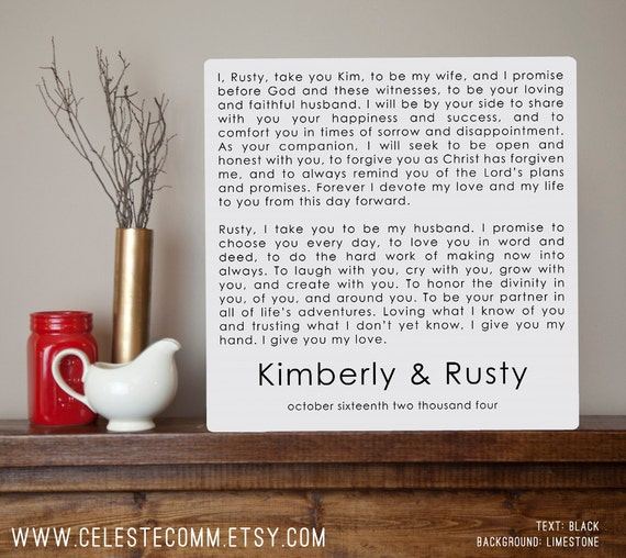 Modern Wedding Vows Personalized Metal Sign Wall Art Print
