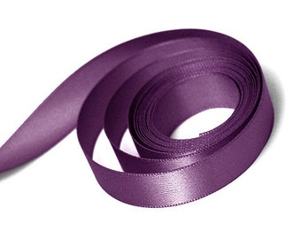 "5 Yards Of Plum Double Faced Satin Ribbon, Two Widths Available: 7/8"" & 1.5"", Plum Ribbon, Dark Purple Ribbon, Plum Sash"
