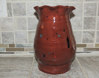 Hand thrown pottery Vase, Bowl  One of a kind light Brown glaze. Food, dishwasher and microwave safe.