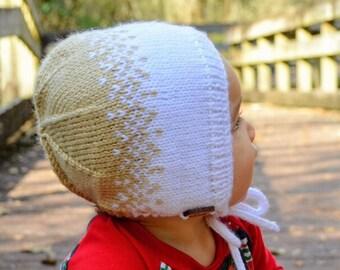Ombre Bonnet (Custom) / Knit Baby Bonnet / Knit Newborn Hat / Photo Prop / Baby Girl Bonnet / Baby Boy Bonnet
