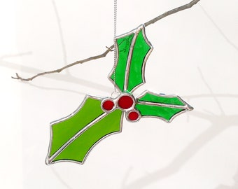 Stained Glass Christmas Holly Ornament Green Stained Glass Holly Decoration Glass Window Decor Glass Holly Leaves Glass Holly Leaf Ornament