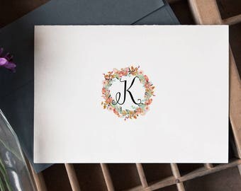 Initial Stationary | Monogram Note Cards | Personalized Stationery Set | Floral Notecards | 15 Custom Stationery Flat Notecards