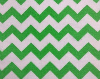 SALE - One Half Yard of Fabric Material - Medium Green/White Chevron