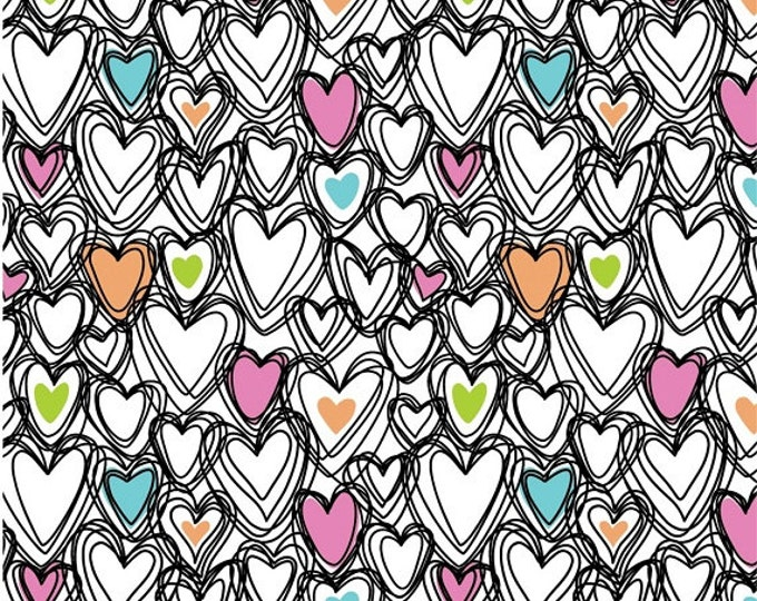 Springs Creative - Knit Prints - Scribble Hearts - Knit Fabric