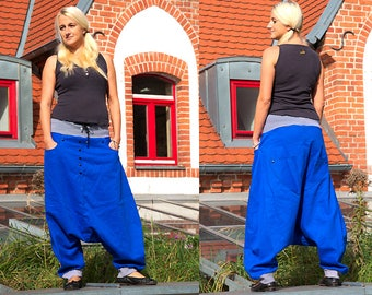 harem pants, Jeans, yoga pants ,drop crotch, royal blue