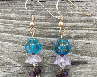 Blue and Purple Pansy Glass Flower Dangle Drop Earrings 0003E