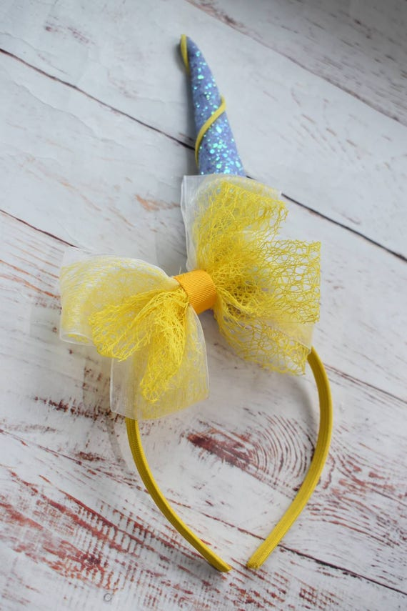 Unicorn horn with yellow and lilac bow headband - Baby / Toddler / Girls / Kids Headband / Hairband / Hair bow /