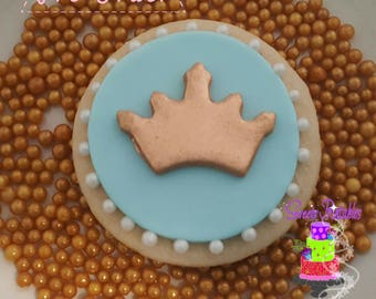 """Royal Sugar Cookie 2""""- 12 Sugar Cookies Decorated With Marshmallow Fondant-Party Favors"""