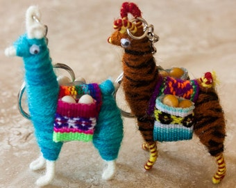 Tiny Andean Llama Key Chain miniature from Alpaca wool zebra theme