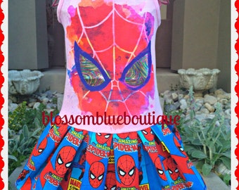 girls spiderman dress 10/12 last two ready to ship
