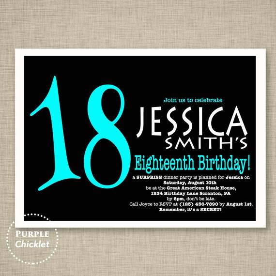Surprise 18th Birthday Invitation Aqua Blue And Black Adult