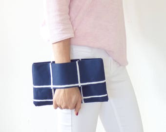 Wallet blue and white fabric, wrist wallet, clutch, clutch bag, pouch bag, purse, mylmelo, spring wallet accessory
