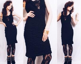 12.50 SALE Vintage 90s Black Mini Bodycon Party Dress