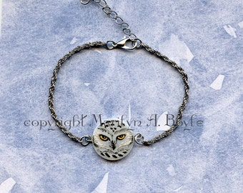 BRACELET - HAND PAINTED; snowy owl, wearable art, anklet, 7.5 inch, 2 inch extention