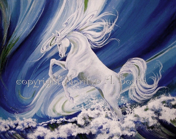 ORIGINAL ACRYLIC PAINTING; free shipping, Canadian art,wall art,white horse,waves,sea,blue color,fantasy look,home decor,